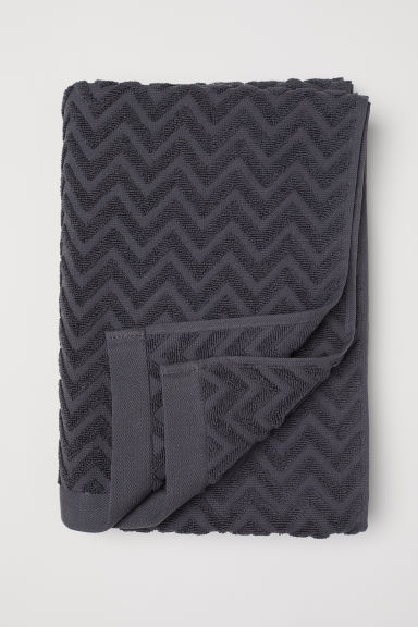 Jacquard-patterned bath towel - Anthracite grey - Home All | H&M GB
