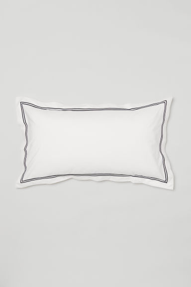 Cotton percale pillowcase - White/Black - Home All | H&M CN