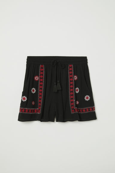 Shorts with embroidery - Black - Ladies | H&M