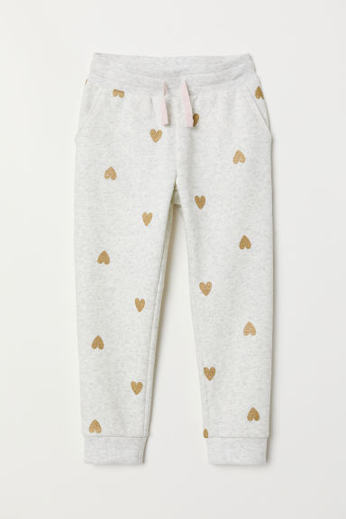 Joggers - Light grey marl/Hearts - Kids | H&M