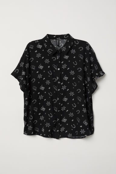 Crêpe blouse - Black/Patterned -  | H&M