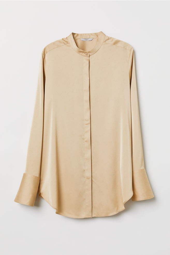 2c196565c1e735 Satin blouse - Light beige - Ladies | H&M ...