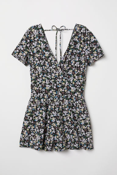Jersey playsuit - Black/Floral - Ladies | H&M CN