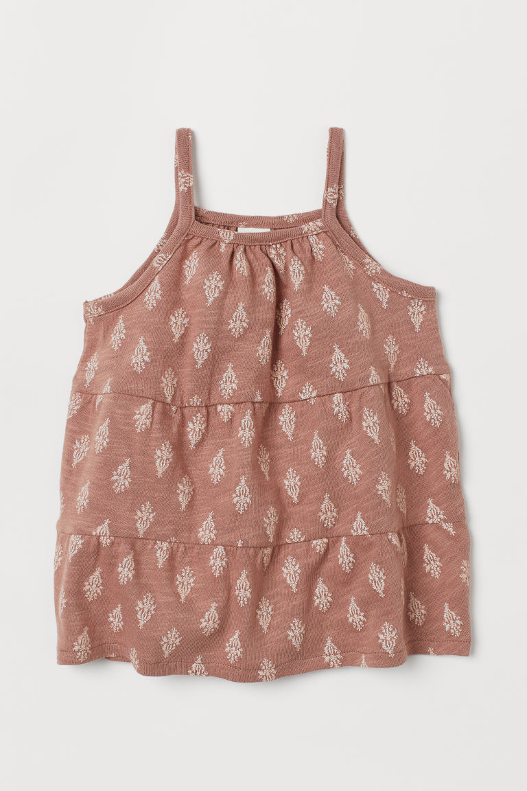 Slub Jersey Dress - Dusty rose/patterned - Kids | H&M CA