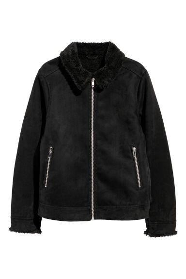 Pile-lined jacket - Black -  | H&M