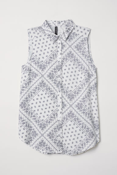 Sleeveless viscose blouse - White/Paisley-patterned - Ladies | H&M CN