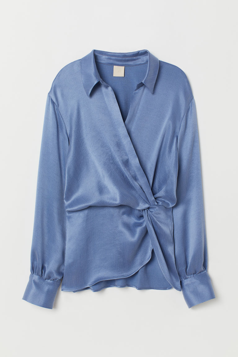 Wrapover blouse with a collar - Dark pigeon blue - Ladies | H&M CN