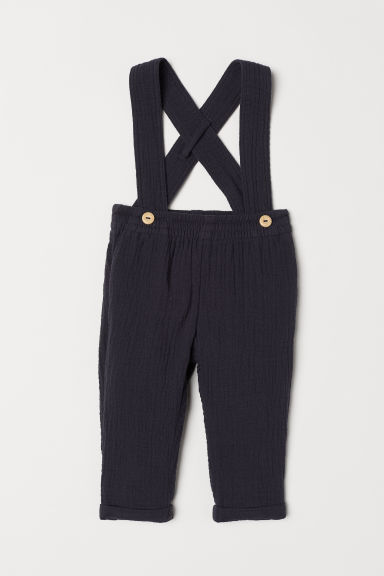 Cotton trousers with braces - Dark blue - Kids | H&M CN