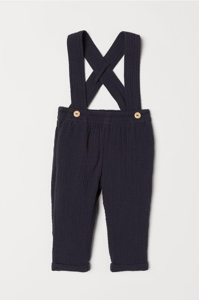 ec56ea9f3 Cotton trousers with braces - Dark blue - Kids
