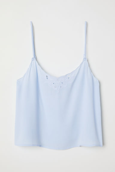 Scallop-edged strappy top - Light blue - Ladies | H&M