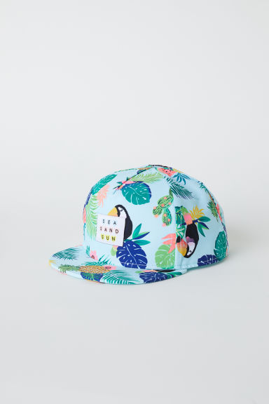 Cap with a glittery peak - Turquoise/Botanical - Kids | H&M