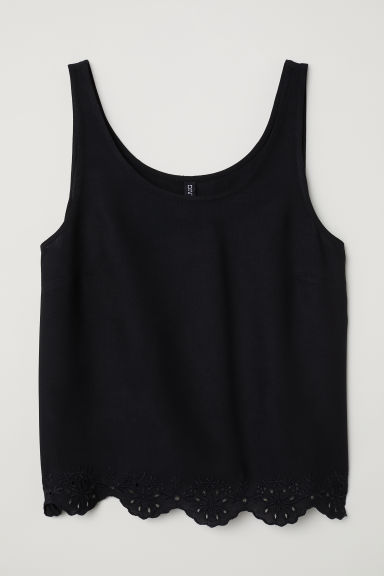 Top with broderie anglaise - Black -  | H&M CN