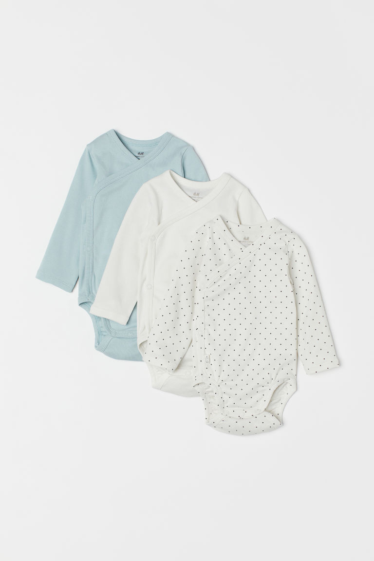 3-pack long-sleeved bodysuits - White/Spotted - Kids | H&M CN