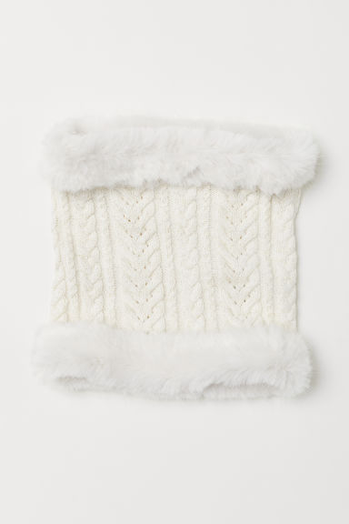 Cable-knit tube scarf - Natural white - Kids | H&M CN