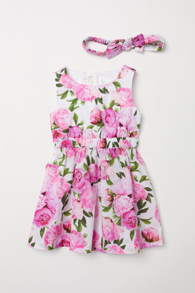 Dress and hairband - White/Floral -  | H&M CN