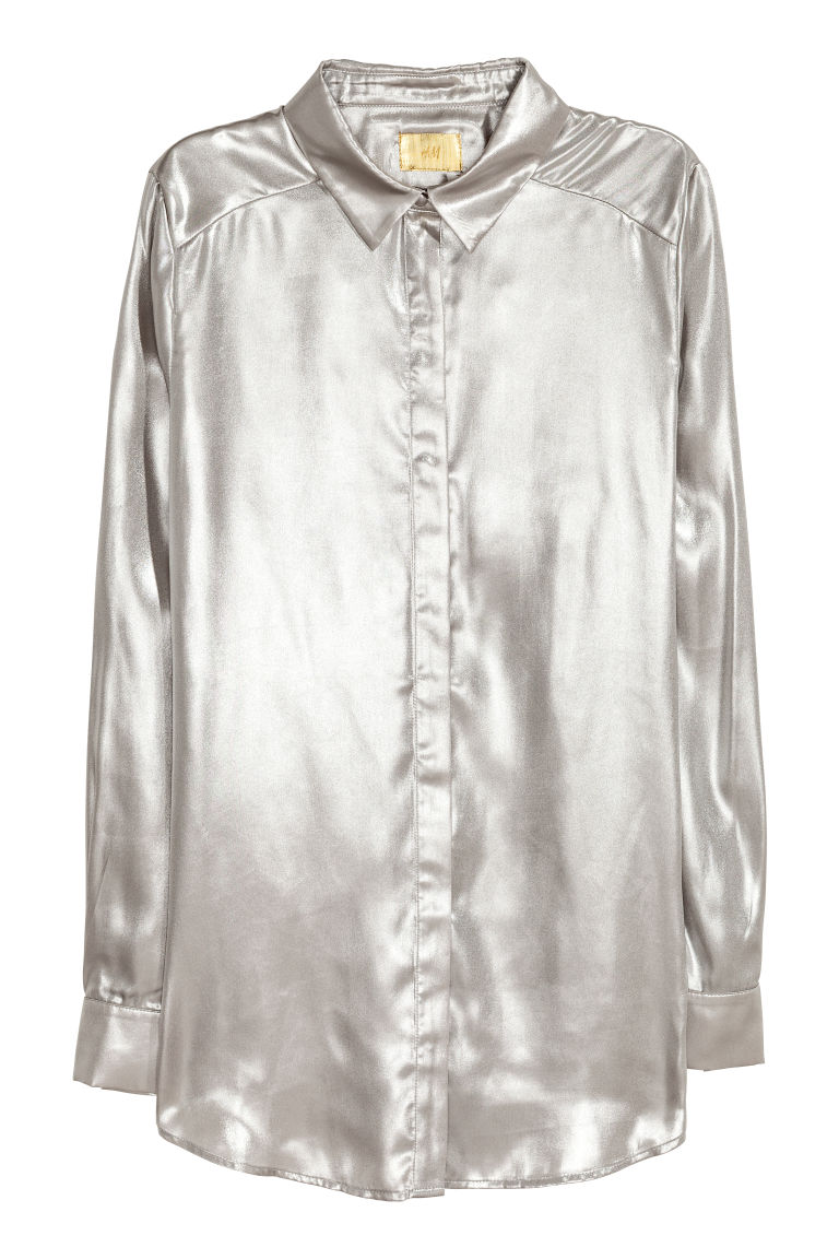 Shimmering metallic shirt - Silver-coloured - Ladies | H&M