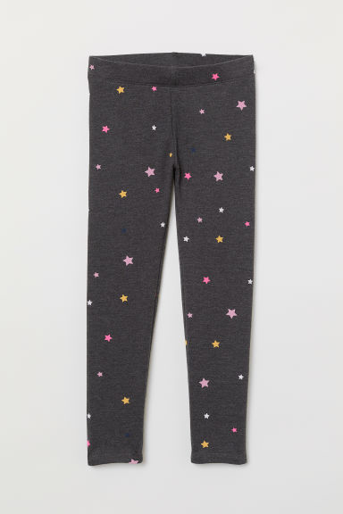 Leggings with brushed inside - Dark grey marl/Stars -  | H&M IE
