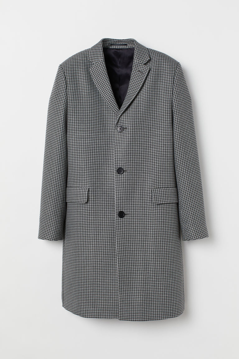 Patterned Coat - Gray/black checked - Men | H&M US