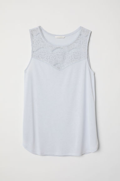 Sleeveless jersey top - Light blue - Ladies | H&M CN