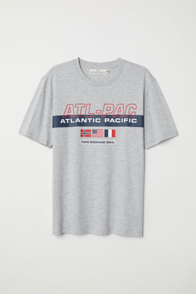 Printed T-shirt - Grey marl/Atlantic Pacific - Men | H&M
