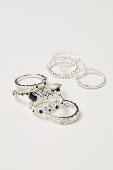10-pack rings - Silver-coloured - Ladies | H&M