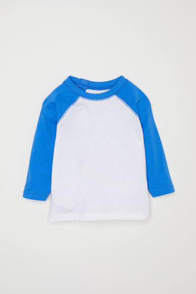 Long-sleeved T-shirt - White/Cornflower blue - Kids | H&M CN