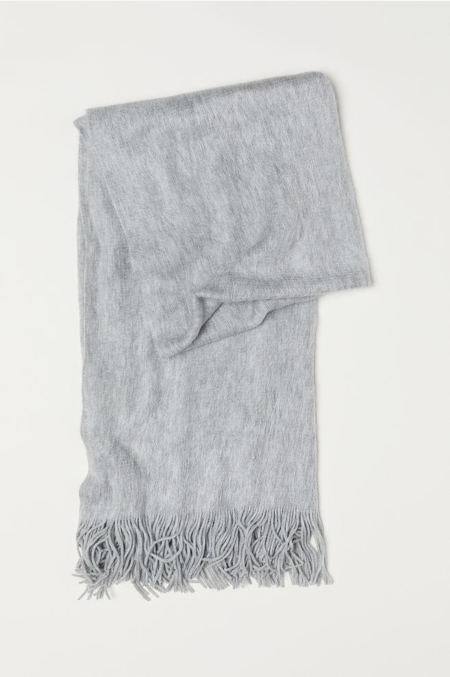 gebreide sjaal - lichtgrijs gemêleerd - dames   h&m nl