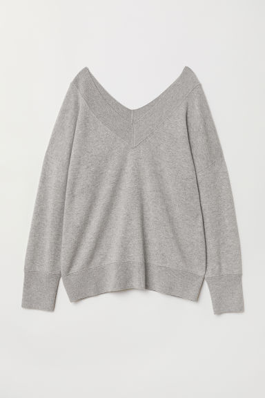 V-neck cashmere jumper - Grey marl - Ladies | H&M CN