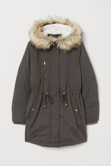 Padded parka with a hood - Dark grey -  | H&M