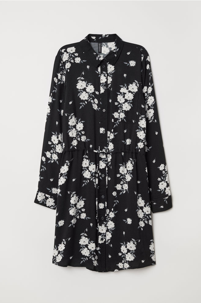 69df40f8d168 Shirt Dress - Black/floral - | H&M ...