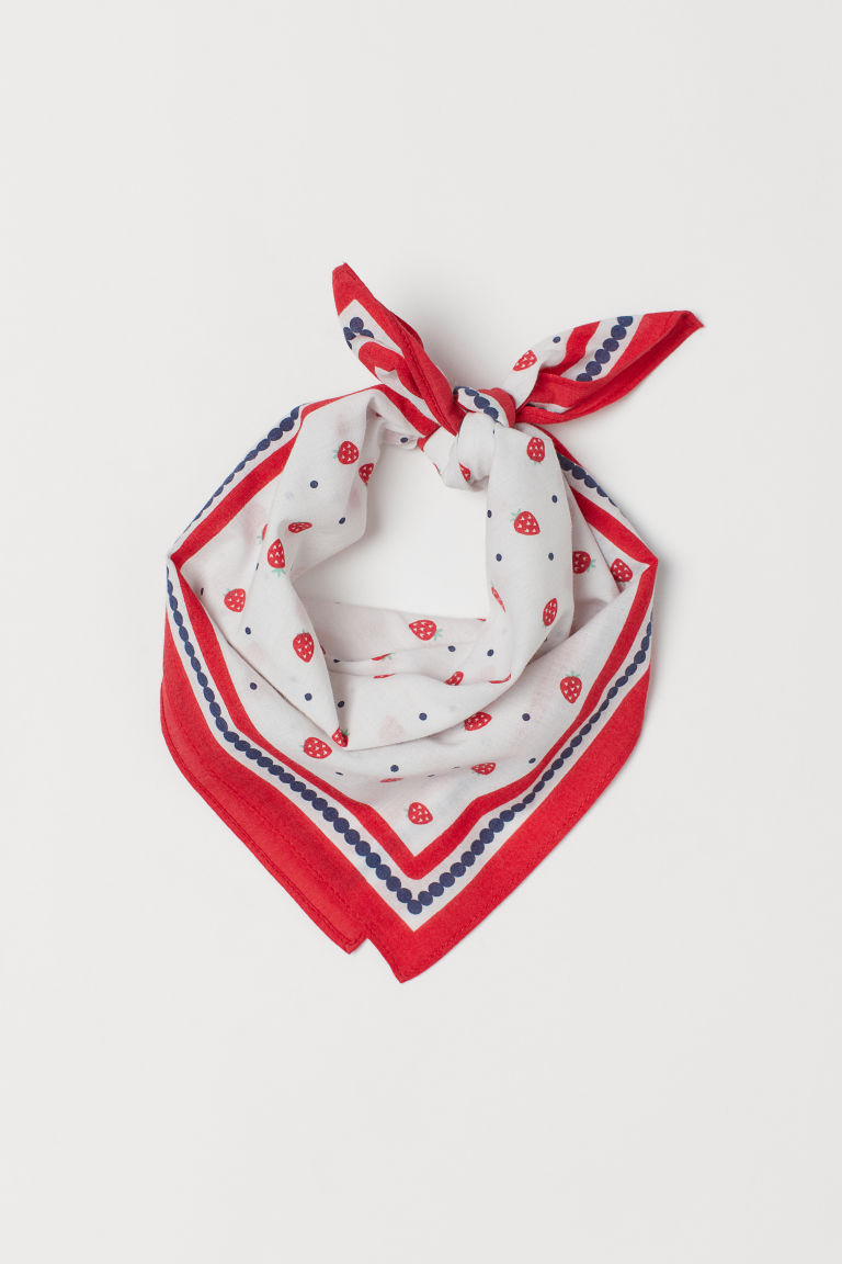 Cotton Scarf - White/strawberries - Kids | H&M US