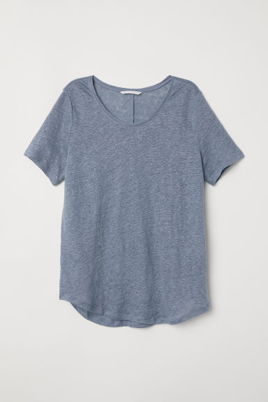Round-necked linen top - Pigeon blue - Ladies | H&M CN