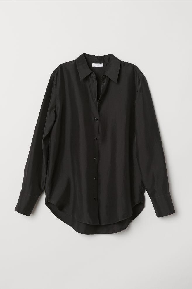 93b0e7cd0 Silk Shirt - Black - Ladies   H&M ...