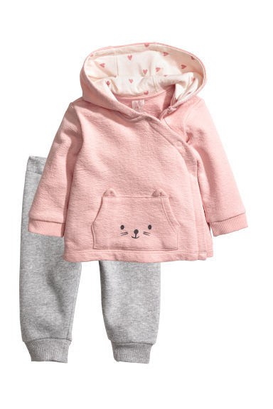 Hooded jacket and joggers - Light pink/Light grey - Kids | H&M CN