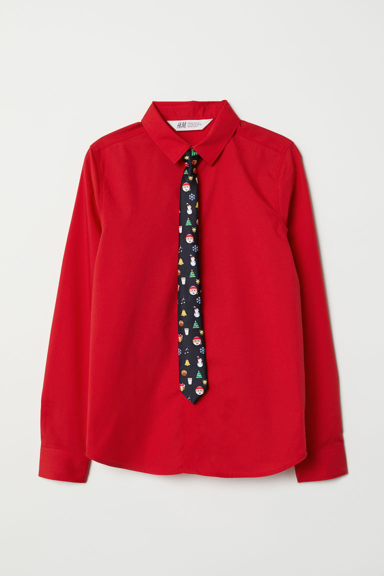 Shirt with a tie/bow tie - Red/Tie - Kids | H&M CN