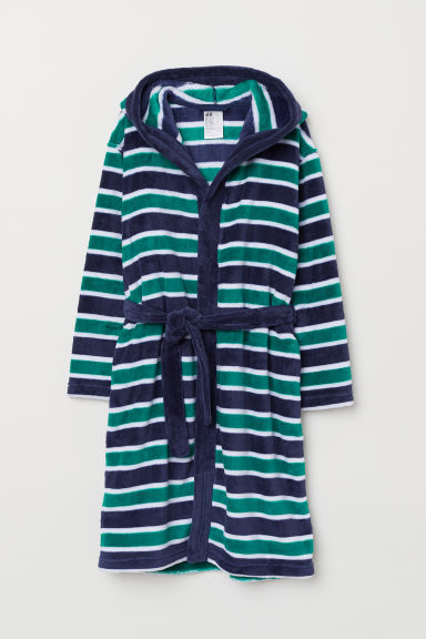 Fleece dressing gown - Blue/Green striped - Kids | H&M