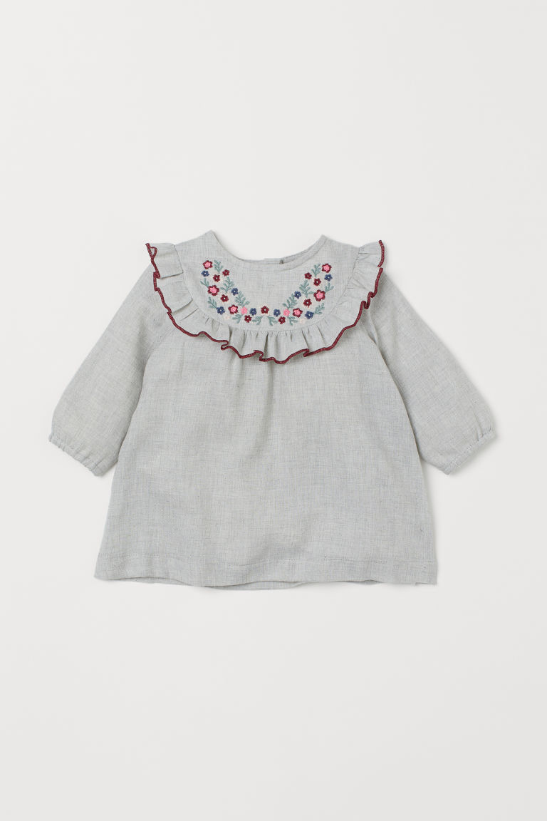 Kleid mit Volant - Hellgrau/Stickereien - Kids | H&M AT
