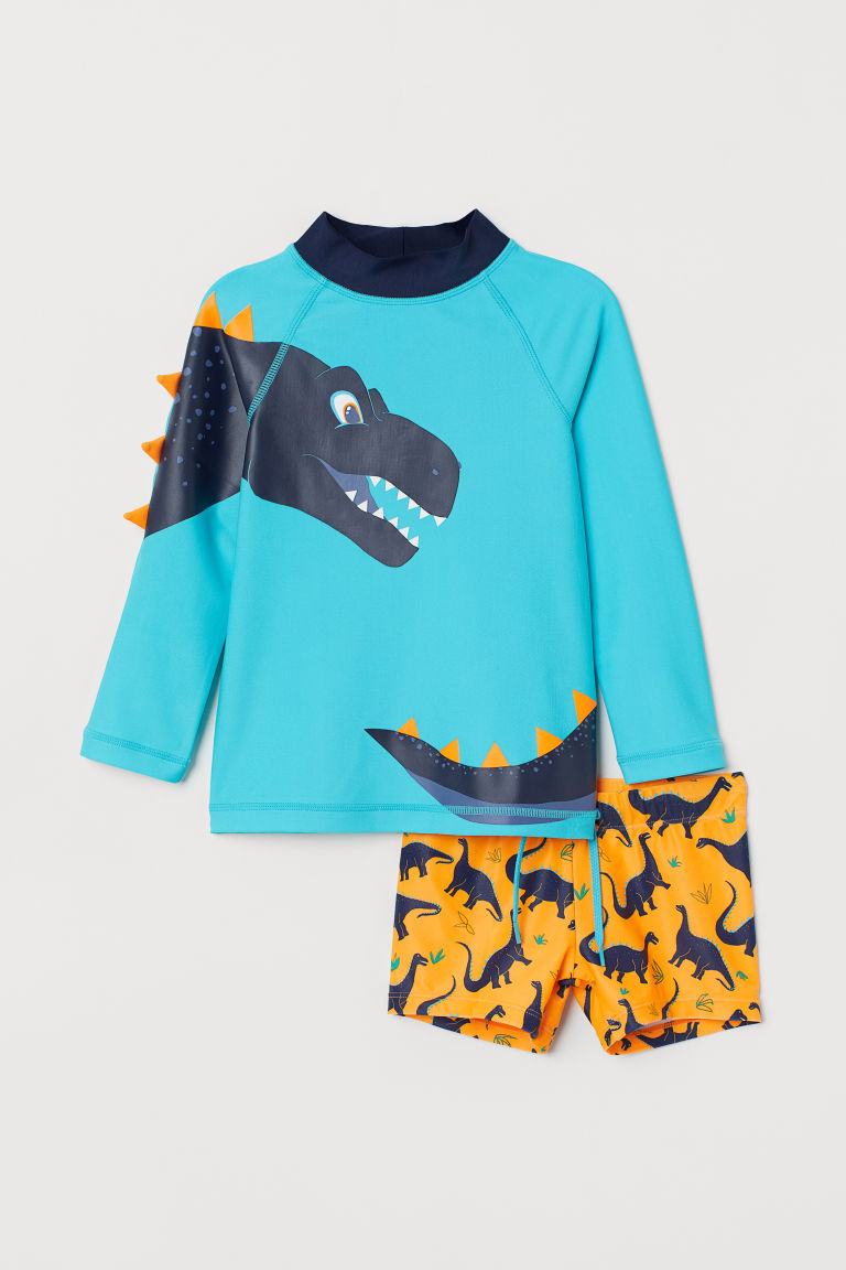 Swim set with UPF 50 - Turquoise/Dinosaurs - Kids | H&M