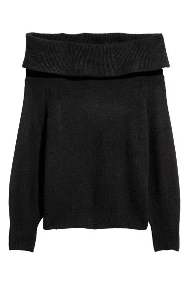 H&M+ Off-the-shoulder jumper - Black - Ladies | H&M CN