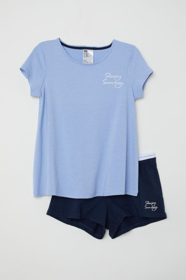 Jersey pyjamas - Light blue/Sleepy Sunday - Kids | H&M
