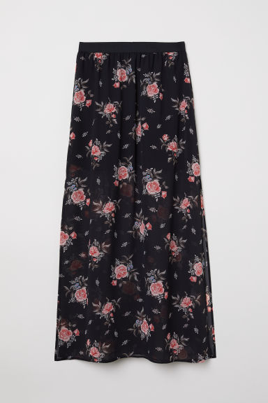 Long skirt - Black/Roses - Ladies | H&M