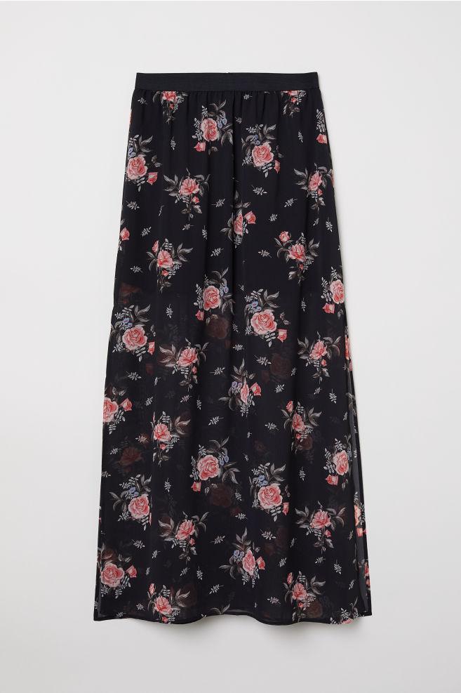 d9eac0dac1d6fa Lange rok - Zwart rozen - DAMES