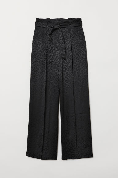 Paper bag trousers - Black - Ladies | H&M CN