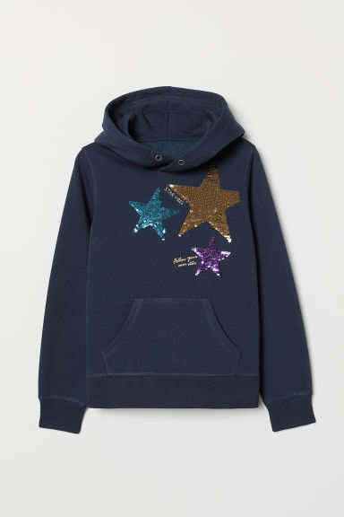 Hooded top with a motif - Dark blue/Stars - Kids | H&M