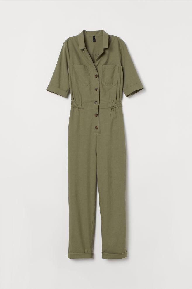 Combinaison pompiste en coton - Vert kaki - FEMME | H&M FR 1