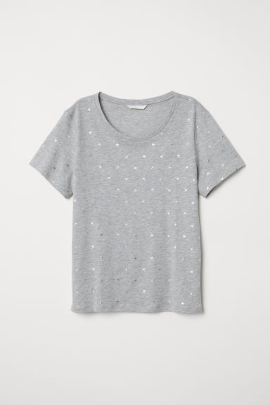 T-shirt with a motif - Light grey marl/Palm trees - Ladies | H&M