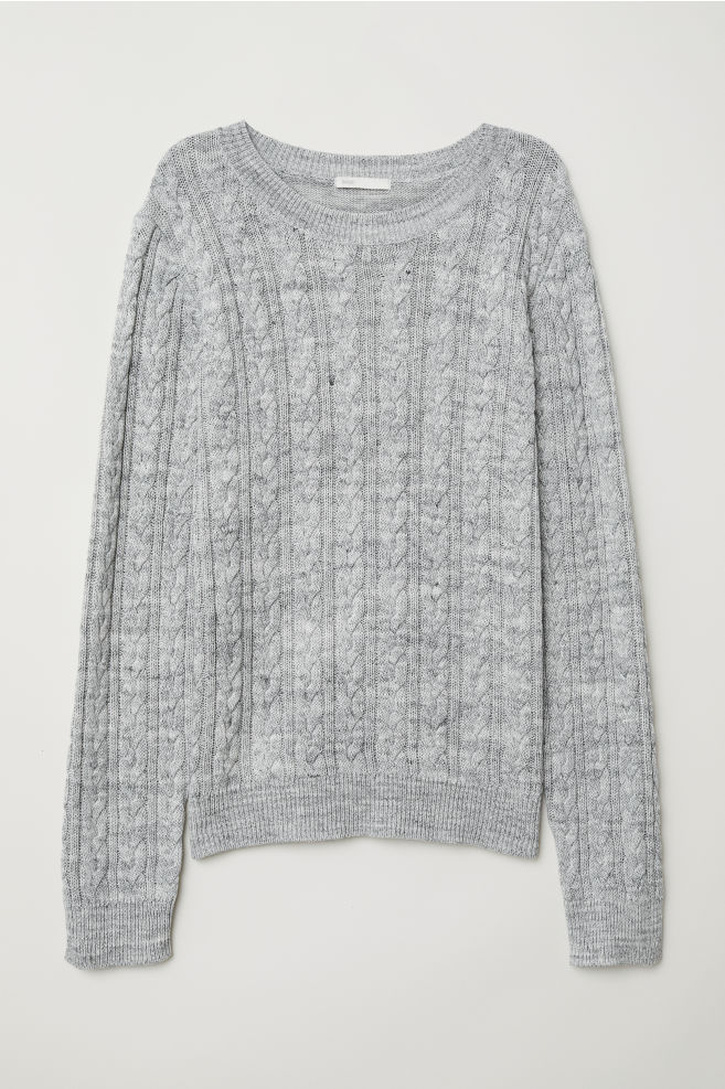 138b8f42e7a Cable-knit jumper - Grey marl - Ladies