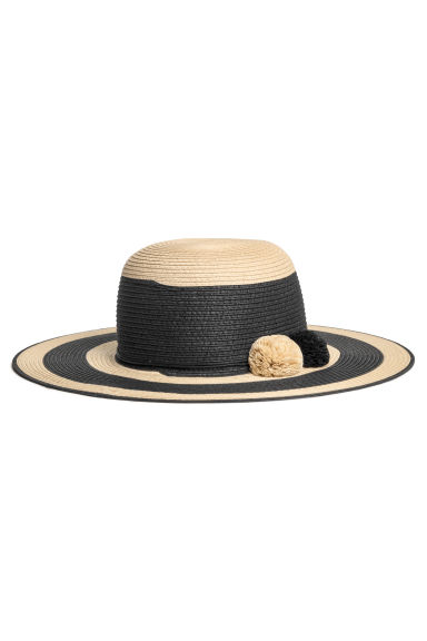 Straw hat - Natural/Black striped - Ladies | H&M