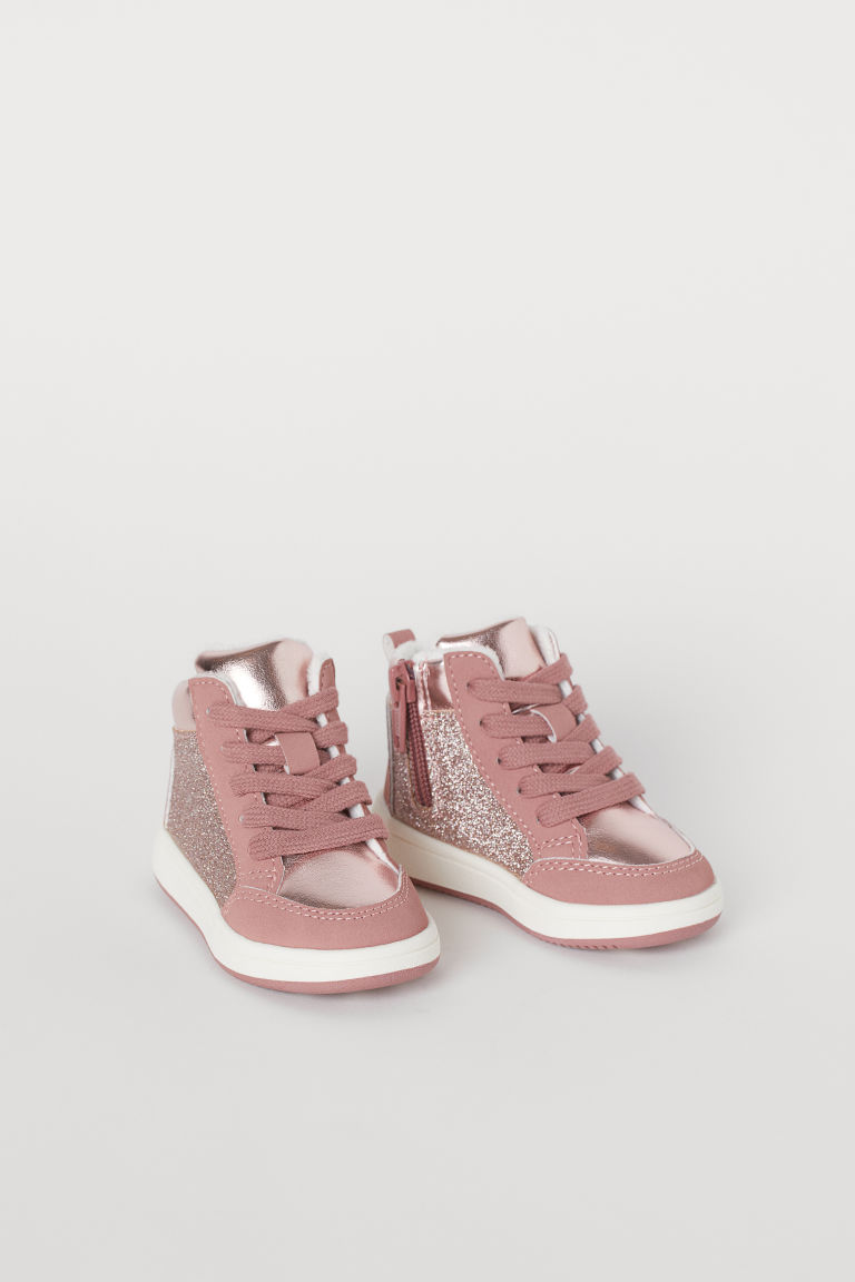 Faux Shearling-lined High Tops - Pink/glitter - Kids | H&M US