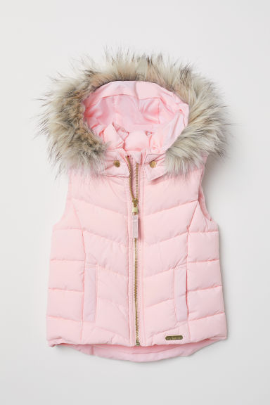 Padded gilet with a hood - Light pink - Kids | H&M